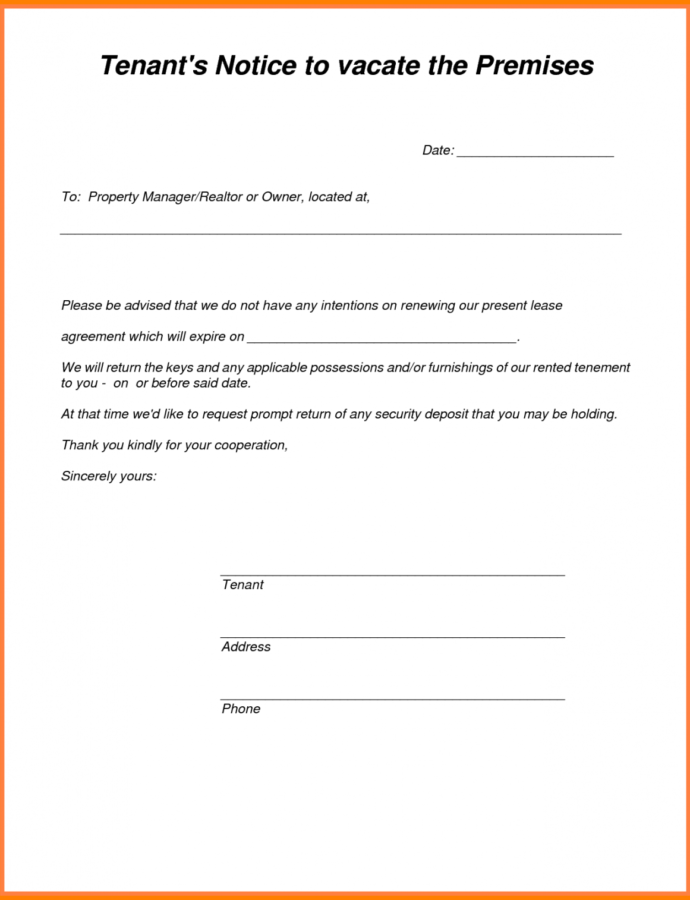 Costume 6 Tenants Vacating Notice  Phoenix Officeaz Notice To Tenant To Move Out Template PDF
