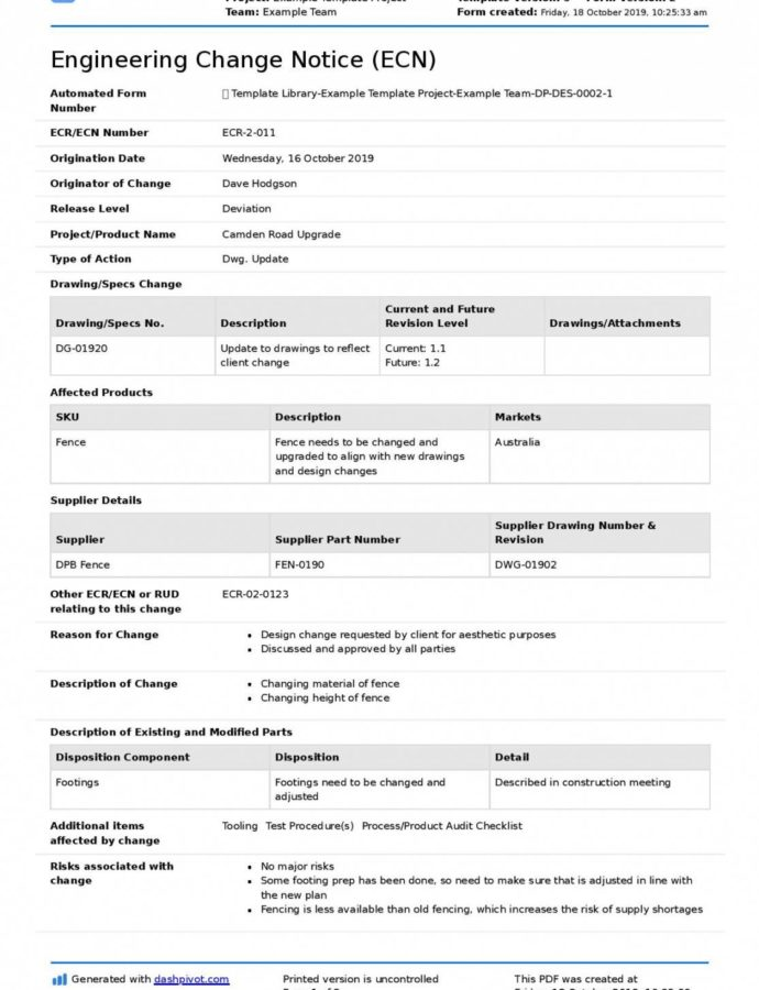 Free Engineering Change Notice Iso Template Qp Ecn