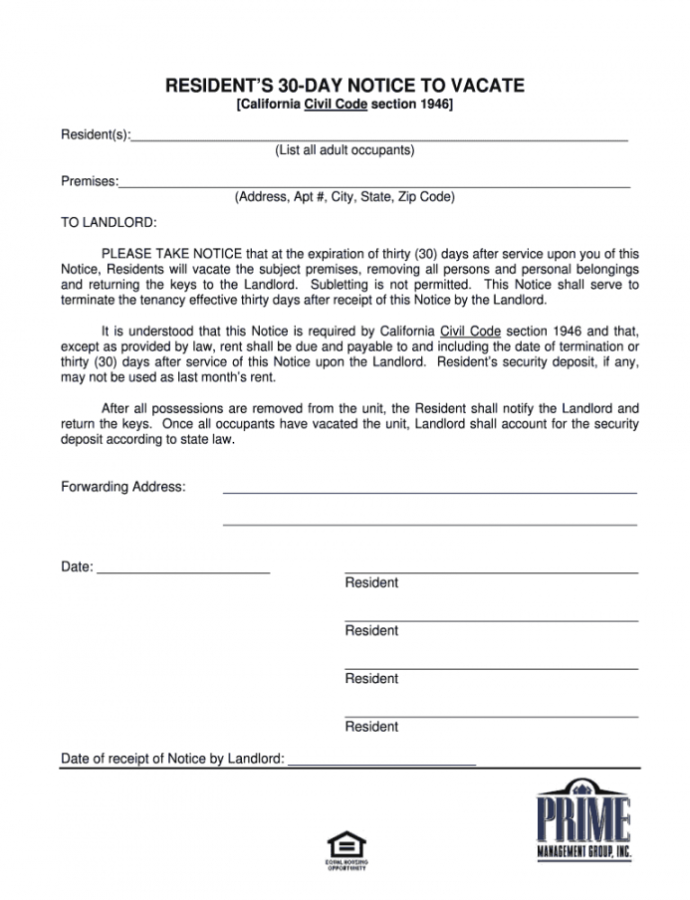 Costume Law Library 30 Day Notice To Vacate Pdf  Fill Online Thirty Day Notice Template Doc