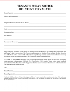 costume lovely 30 day move out notice template  job latter 30 day notice to landlord template pdf sample