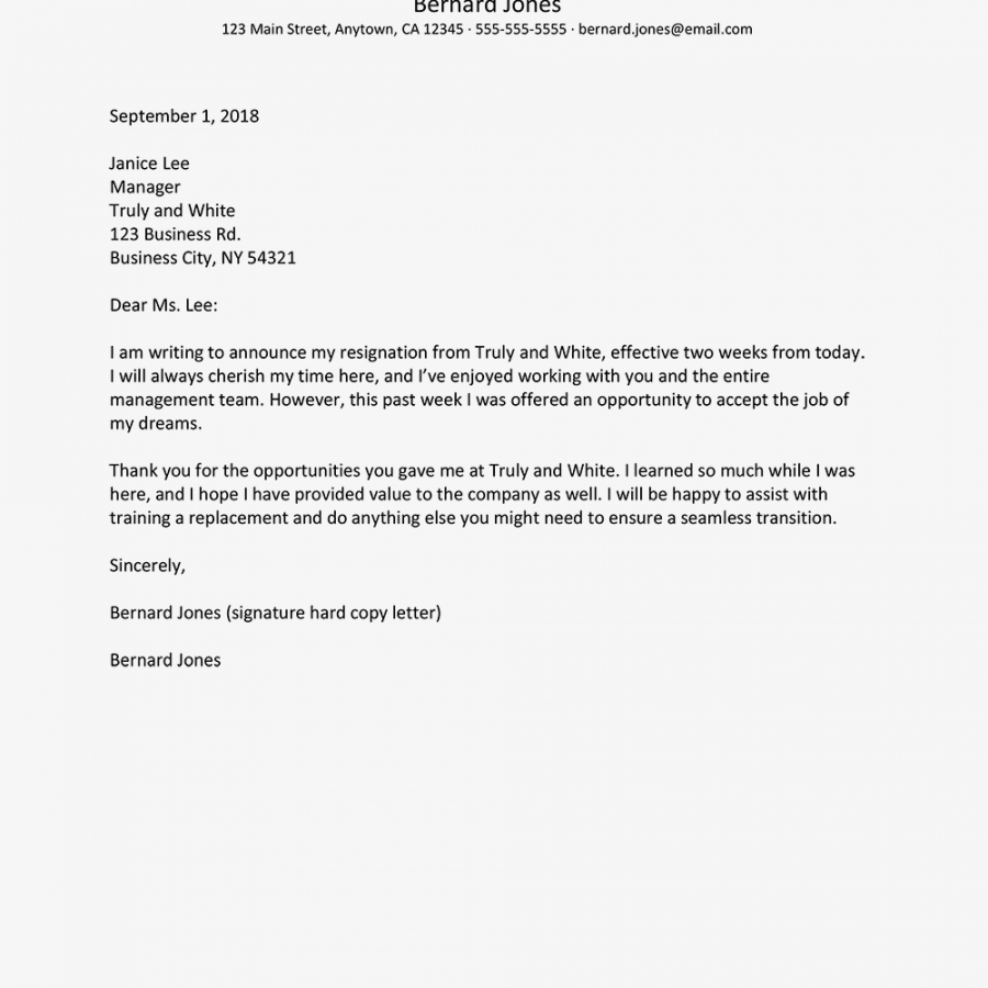 costume resignation notice letters and email examples 2 weeks notice template email