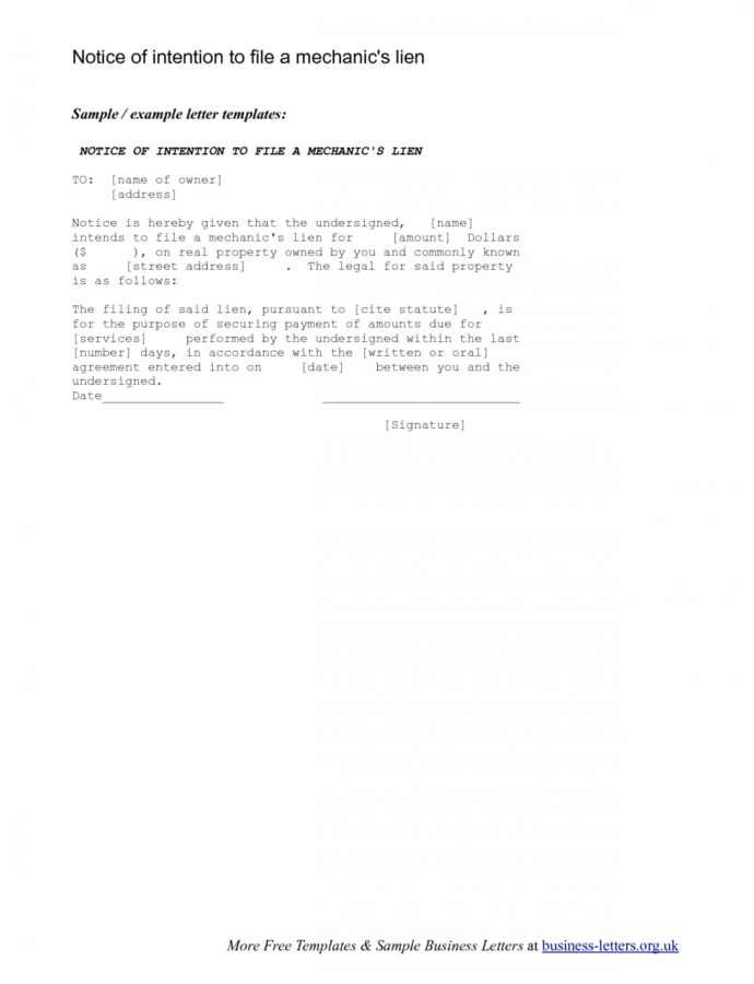 Costume Template Letters  Magdaleneproject Notice Of Lien Letter Template Example