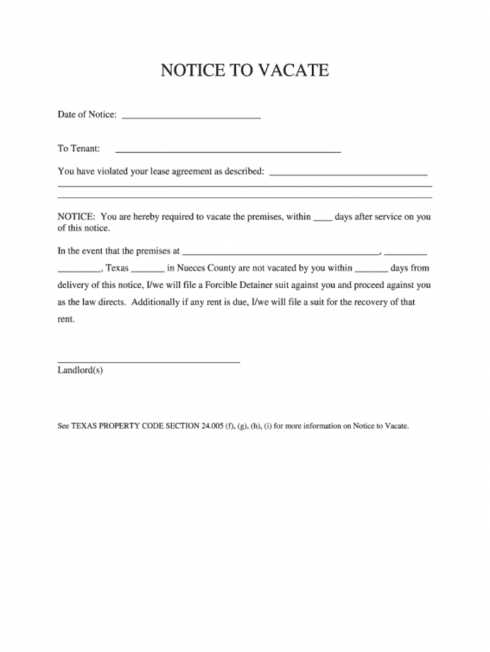 costume texas notice to vacate form  fill online printable notice to vacate texas template doc