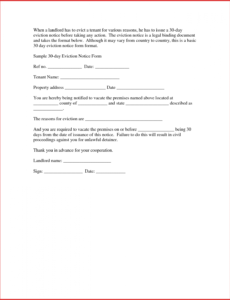 costume unique 30 day vacate notice sample  job latter 30 day notice letter template