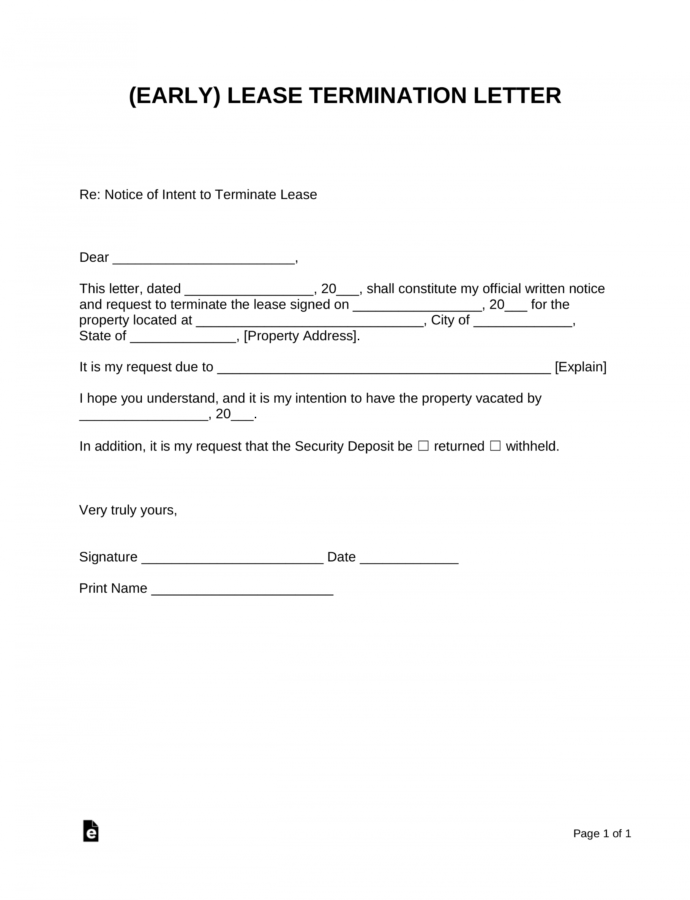 Early Lease Termination Letter  Landlordtenant  Eforms Landlord Notice To Terminate Lease Template Example