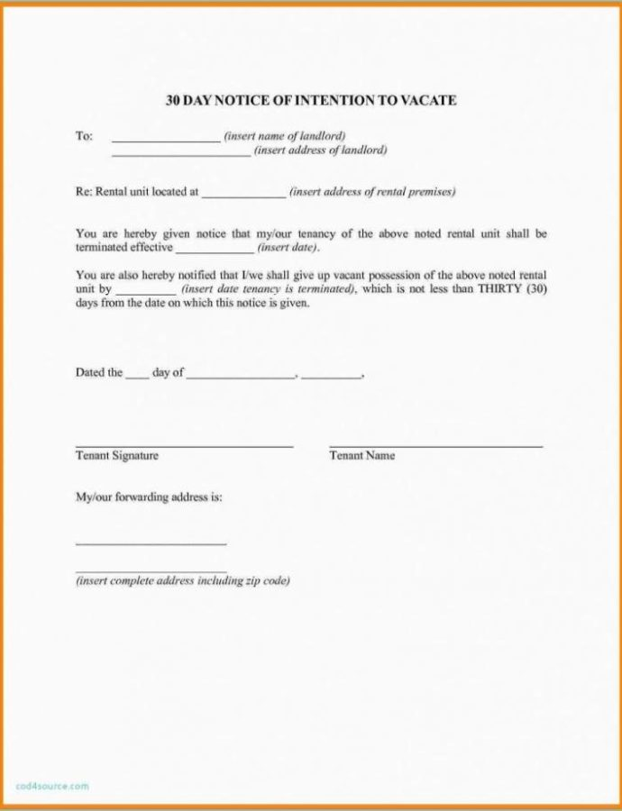 Editable 020 Template Ideas Day Notice To Terminate Tenancy Letter 30 Day Notice To Landlord Template Sample Sample