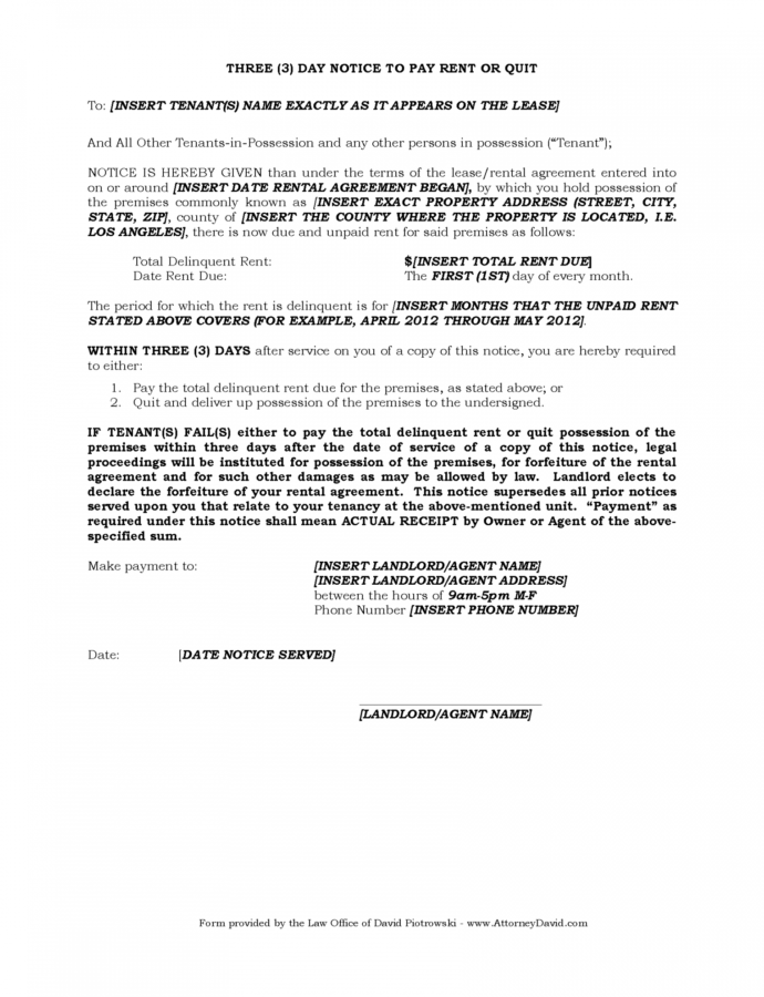 Editable 3 Day Eviction Notice For Nonpayment Of Rent In California Eviction Notice Form California Template Word