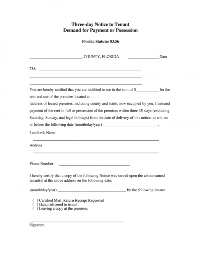 Editable 3 Day Notice Florida  Fill Online Printable Fillable 3 Day Eviction Notice Florida Template Doc