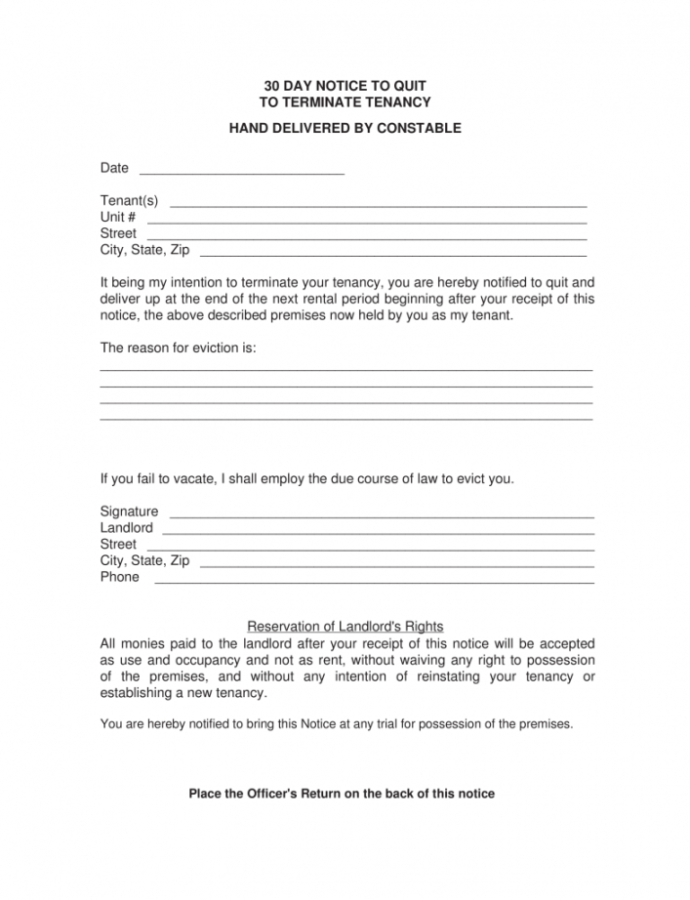 Editable 30 Day Letter To Vacate  Magdaleneproject Arizona 30 Day Notice To Vacate Template PDF