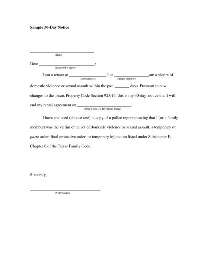 Editable 30 Day Notice Letter  Urgupewrs2018 Template For 30 Days Notice To Landlord Word