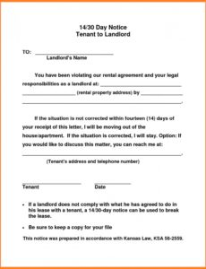 editable 30 day notice to vacate letter to tenant template collection 30 day notice to vacate tenant template sample