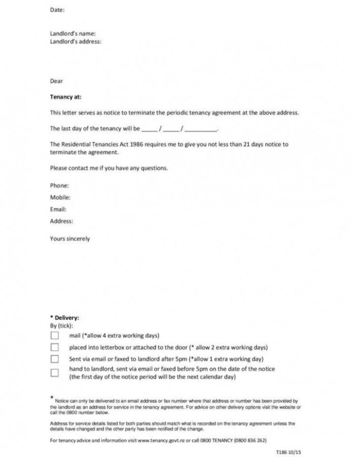 Editable 9 Tenancy Termination Letters  Free Samples Examples Landlord Notice To Terminate Lease Template Doc