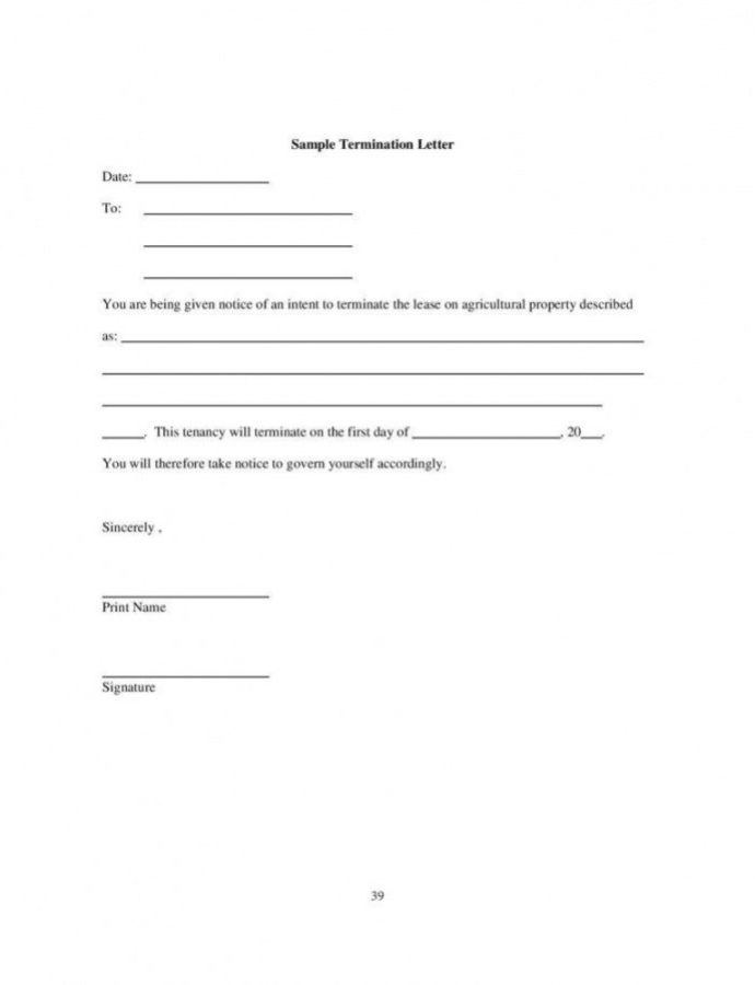 Editable 9 Tenancy Termination Letters  Free Samples Examples Notice To Landlord Template Doc