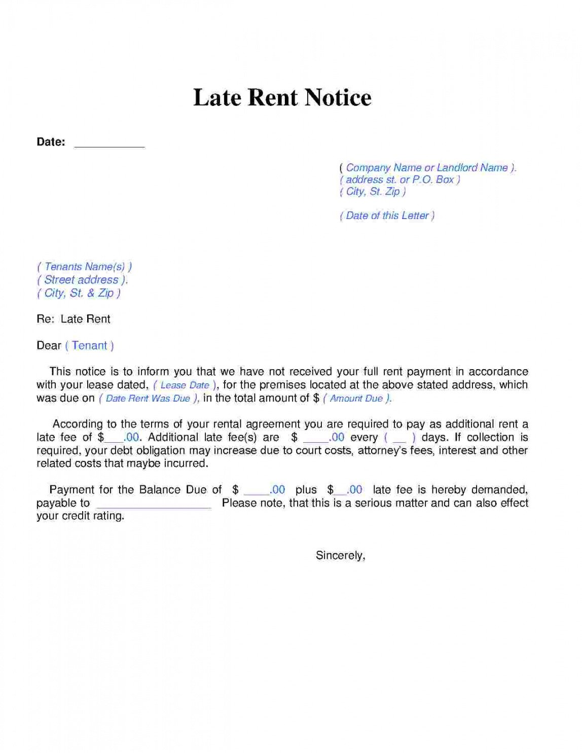 editable download late rent notice style 14 template for free at late notice for rent template sample