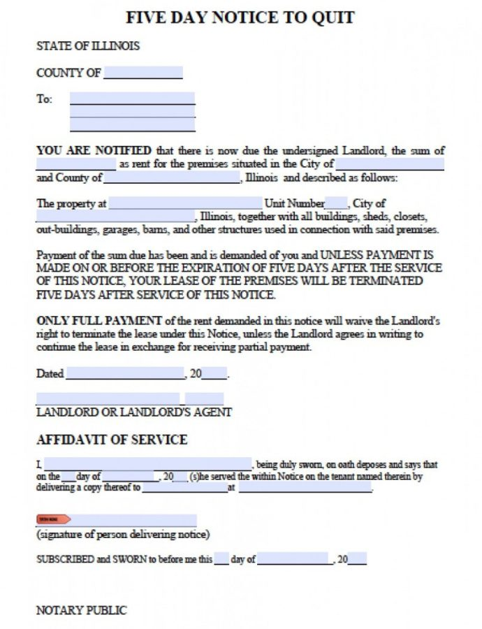 Editable Free Illinois Five 5 Day Notice To Quit Template  Pdf Notice To Evict Template