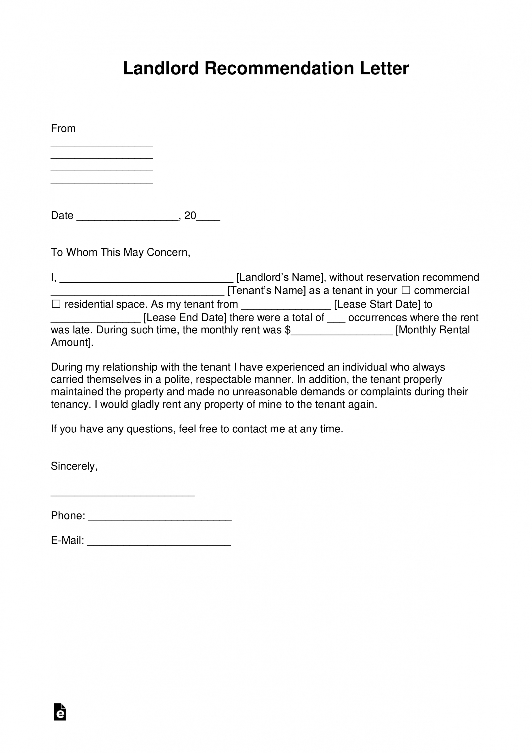 editable free landlord recommendation letter for a tenant  with notice to landlord template sample