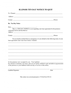 editable illinois 10day notice to quit form  noncompliance eviction notice template illinois word