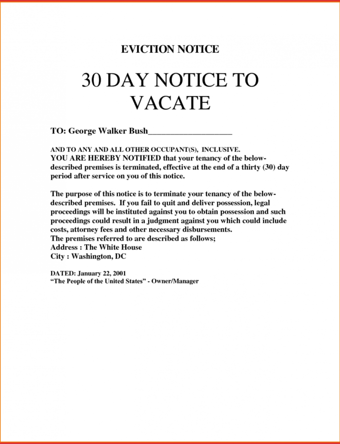 Editable New 30 Day Notice To Vacate Letter Sample  Job Latter 30 Day Eviction Notice Form Template