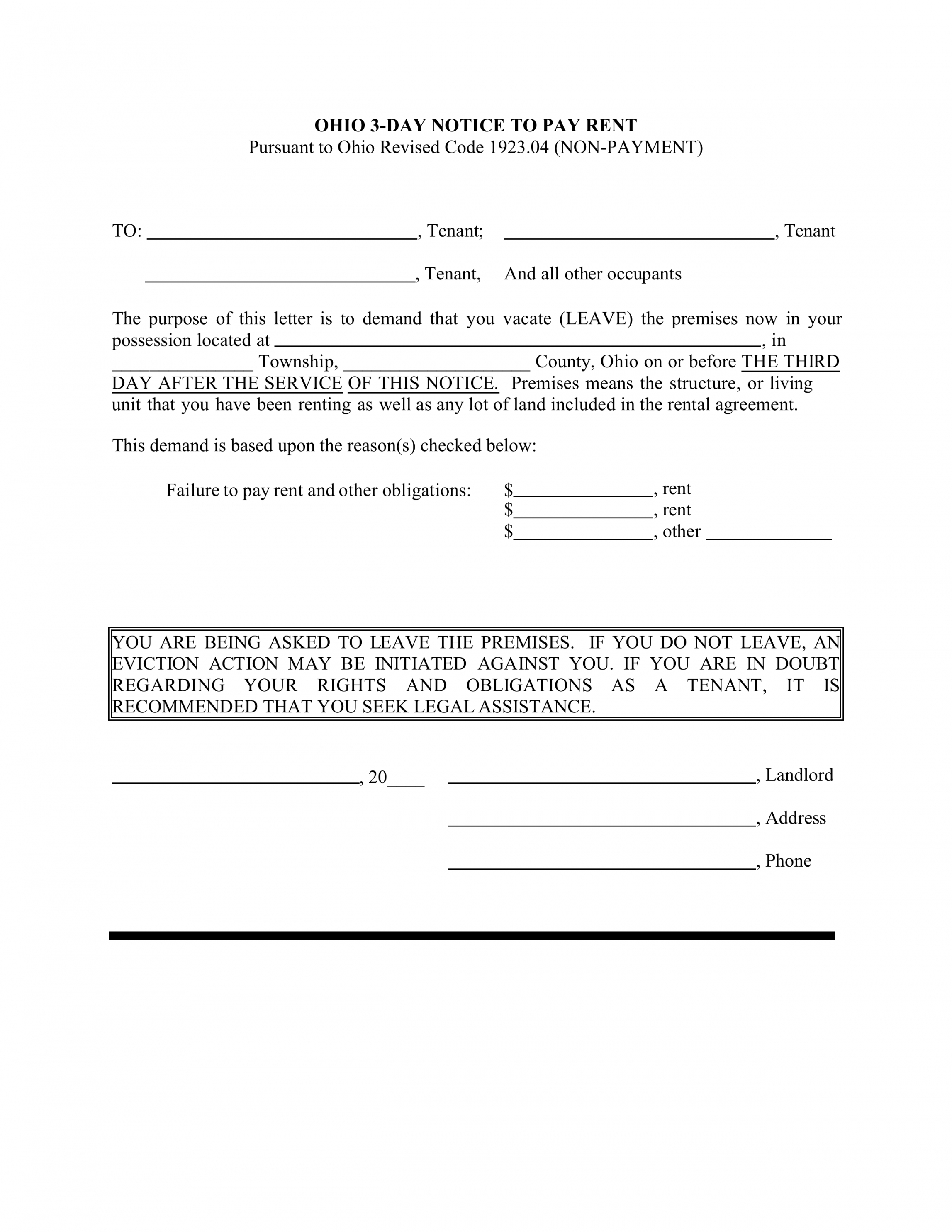 editable ohio 3day notice to quit form  nonpayment  eforms  free three day eviction notice template