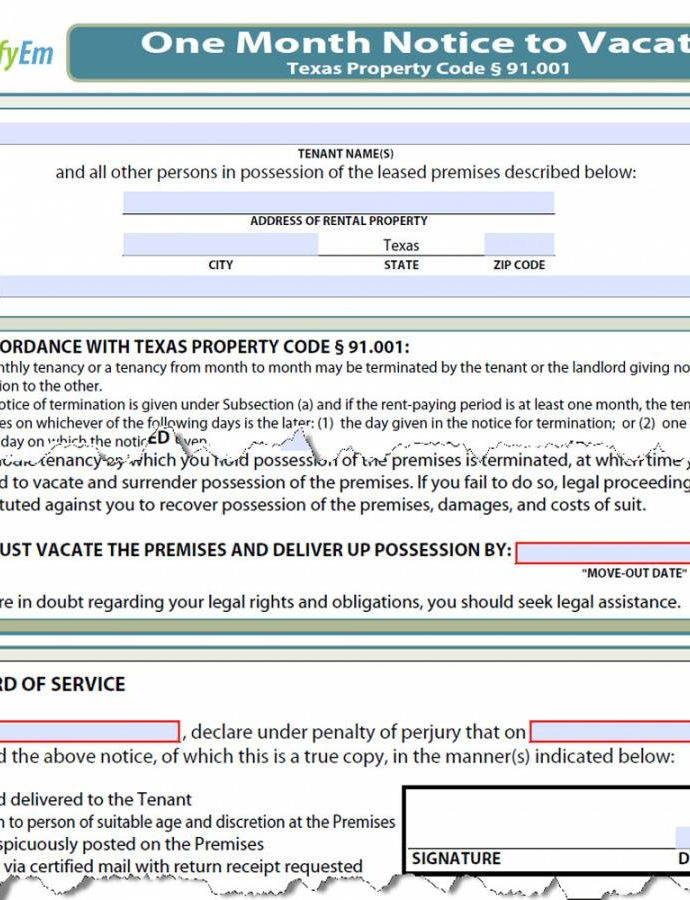 Editable Texas Notice To Vacate  Simplifyem 30 Day Eviction Notice Template Texas Sample