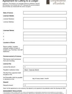 excluded licence lodger agreement  grl landlord association lodger eviction notice template doc