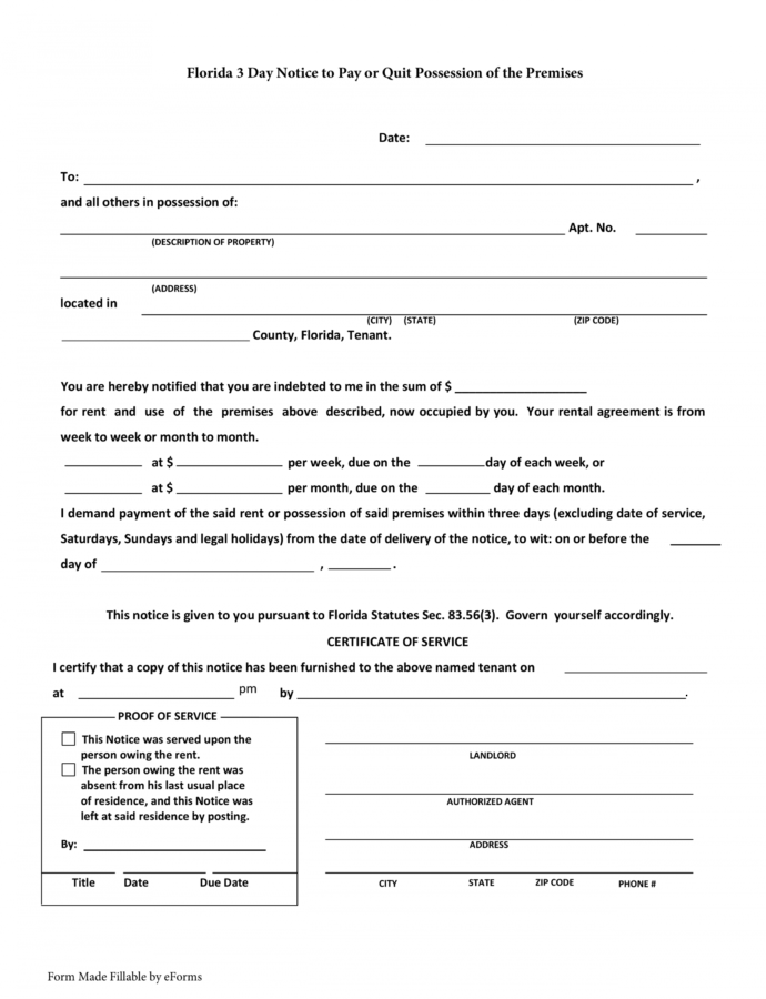 Florida 3Day Notice To Quit Form  Nonpayment Of Rent 3 Day Eviction Notice Florida Template Example