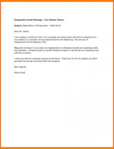 free 002weeknoticetemplatewordideastwoweeksletterexample 2 weeks notice template email doc