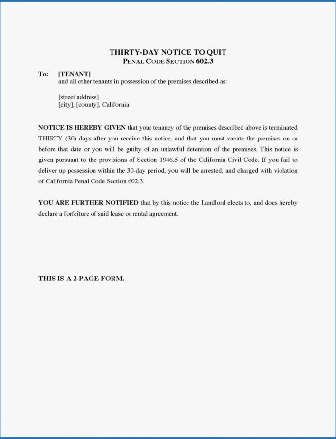 Free 034 Template Ideas Day Notice To Landlord California Amazing 30 Day Tenant Notice To Landlord Template PDF