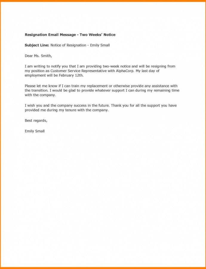 Free 20 Example Two Weeks Notice Email  Leterformat 2 Weeks Notice Email Template PDF