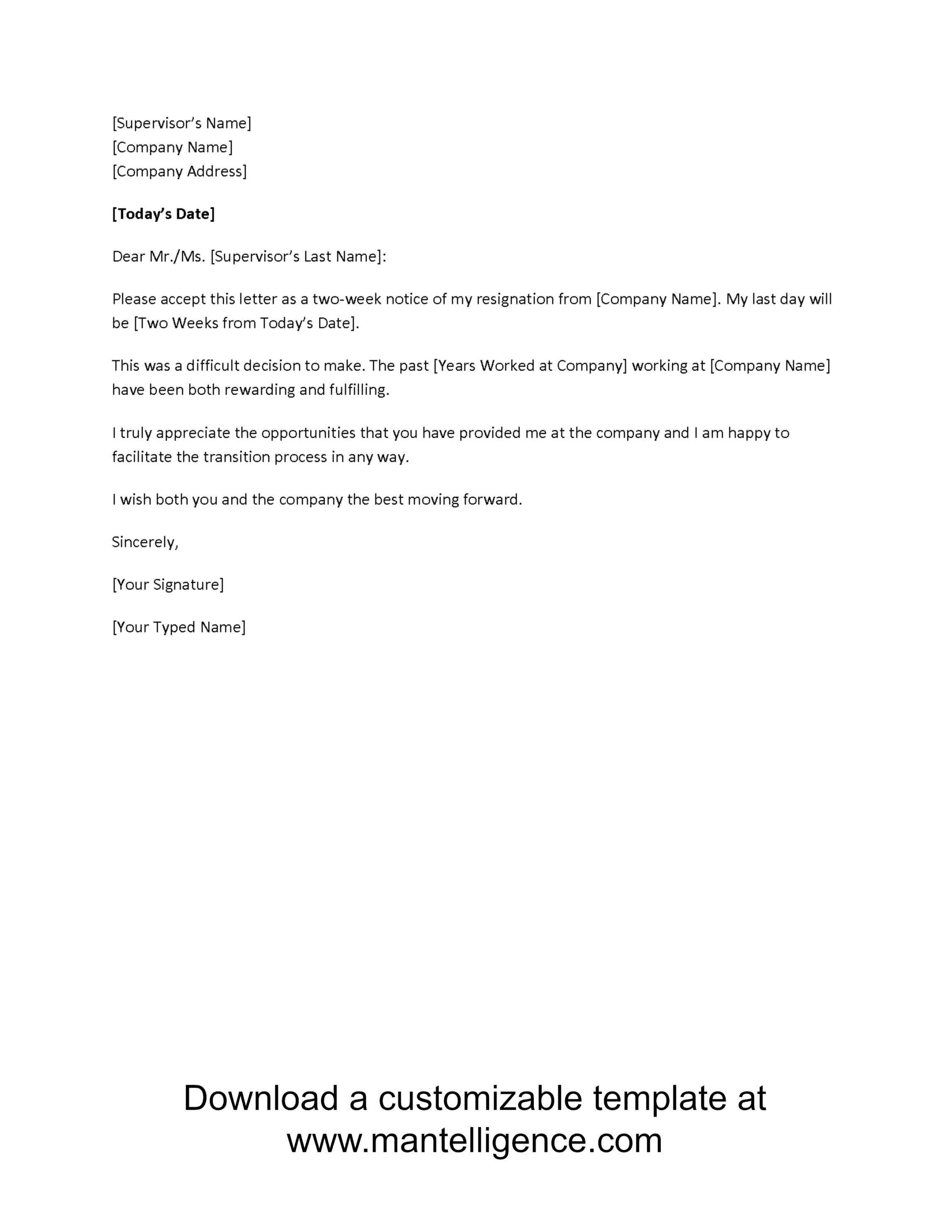 free 3 highly professional two weeks notice letter templates template resignation letter 2 week notice
