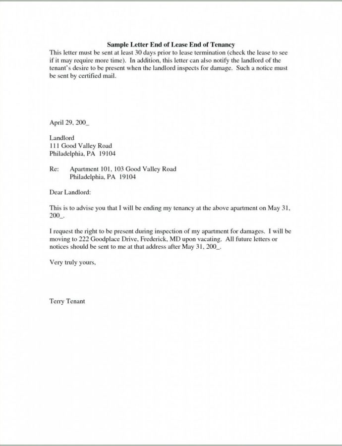 Free 30 Day Notice Letter To Landlord  Giftedpaperco Template For 30 Days Notice To Landlord Sample