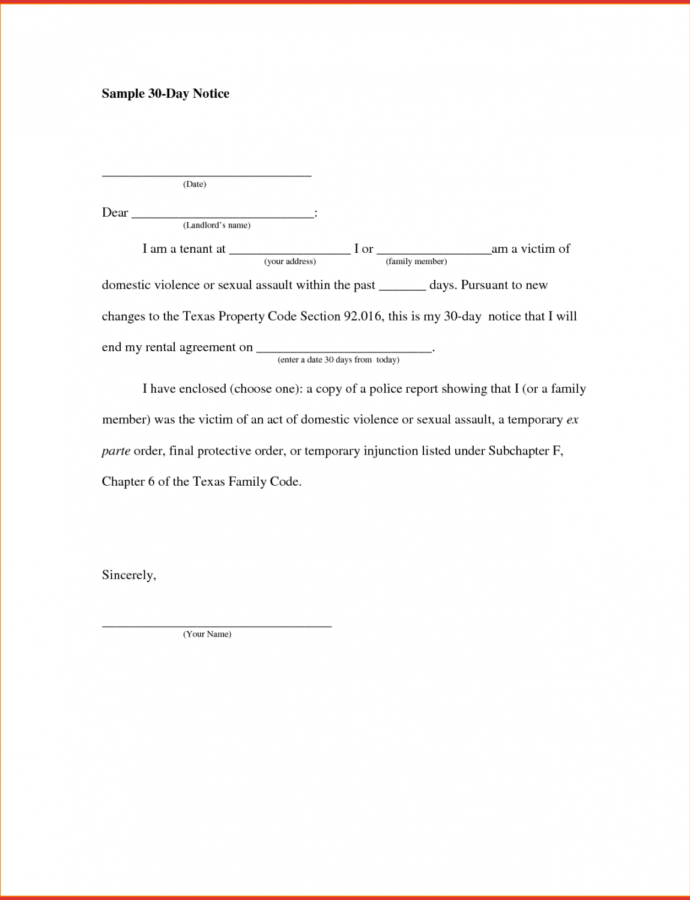 Free Awesome 30 Day Notice Sample  Job Latter Thirty Day Notice Template Sample