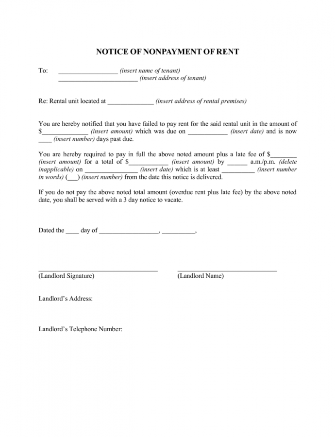Free Best Photos Of For Non Payment Of Rent Letter  Late Rent Late Rent Notice Letter Template