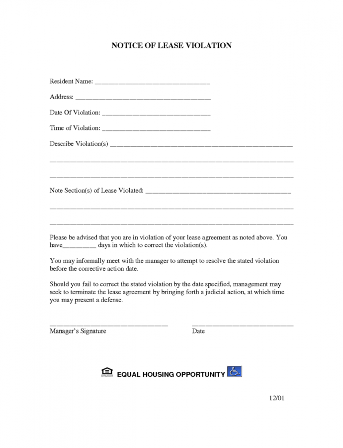 Free Best Photos Of Letter Of Violation Of Lease  Lease Hoa Violation Notice Template PDF