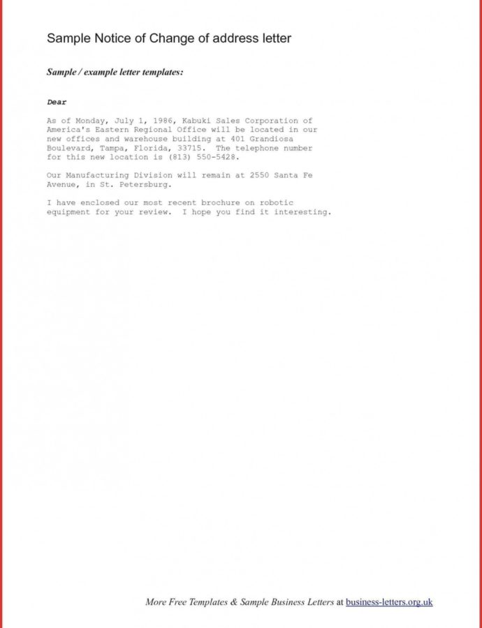 Free Change Of Address Letters For Business  Magdaleneproject Address Change Notice Template Doc