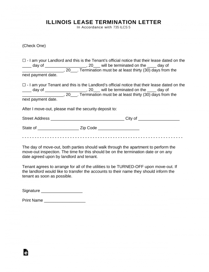 Free Illinois Lease Termination Letter Form  30Day Notice 30 Day Eviction Notice Template Illinois PDF