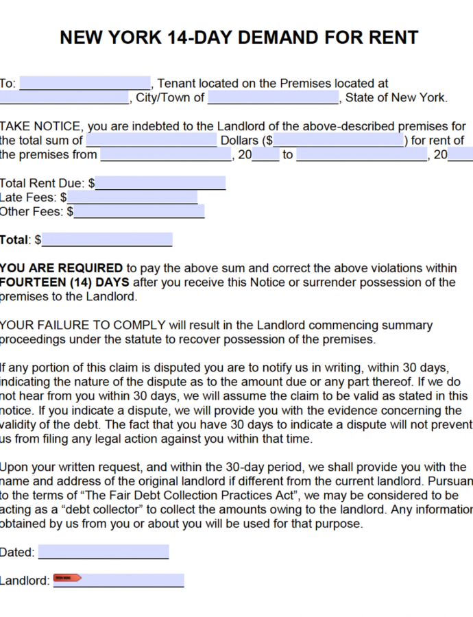 Free New York Fourteen 14 Day Notice To Quit  Nonpayment Eviction Notice Template Ny Doc