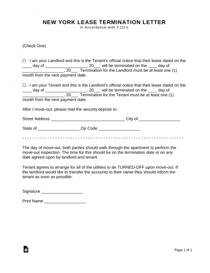 Free New York Lease Termination Letter Form  30 Days  Pdf Eviction Notice Ny Template Example