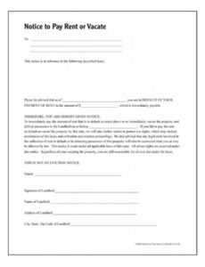 free notice to pay rent or quit forms and instructions pay or quit notice template doc