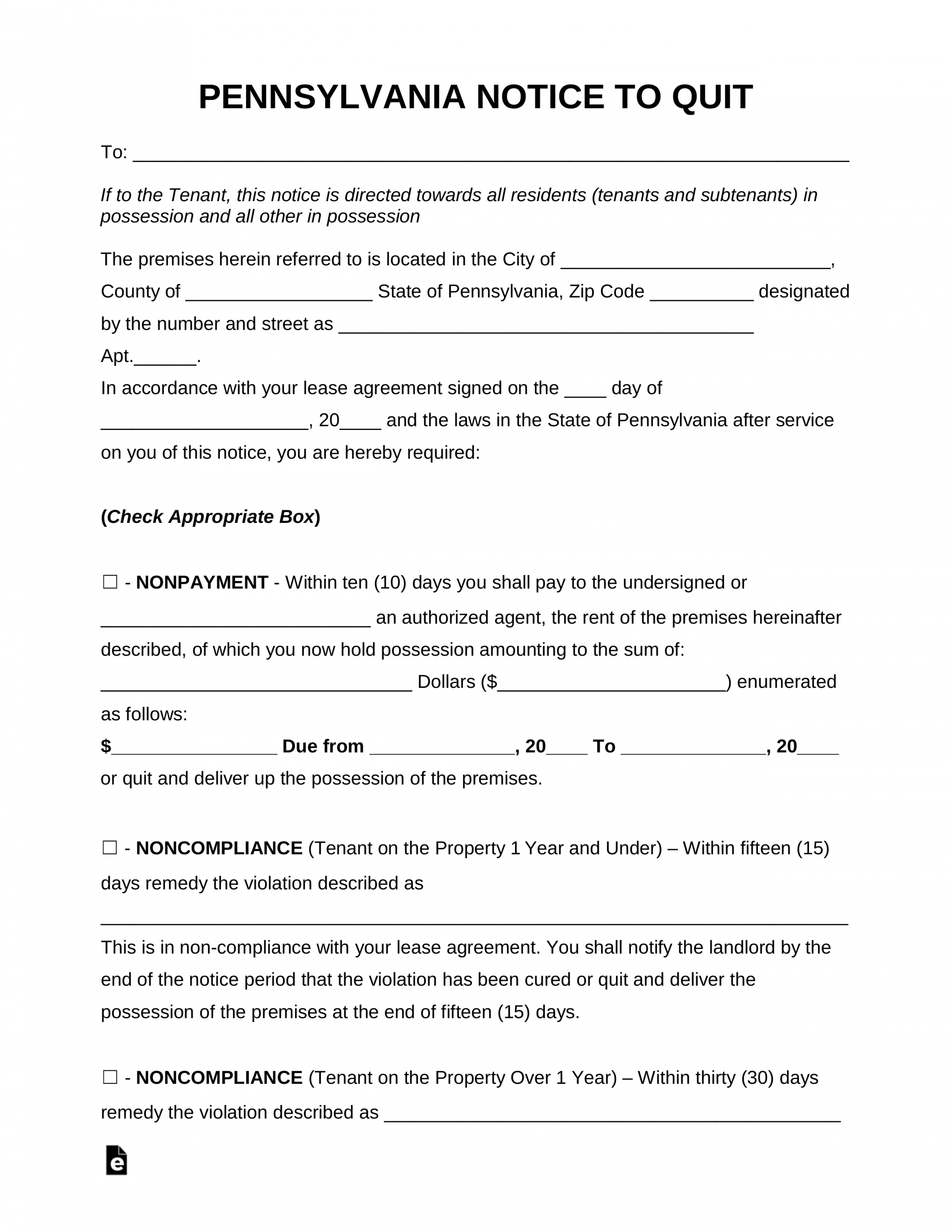 free pennsylvania eviction notice forms  process and laws eviction notice pa template