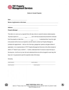 free template notice to vacate rental property  magdalene notice to vacate tenant template sample