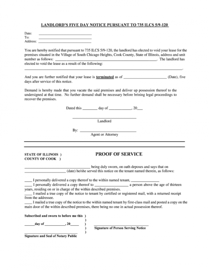 Illinois 5 Day Notice Form Pdf  Fill Online Printable Five Day Notice Template PDF