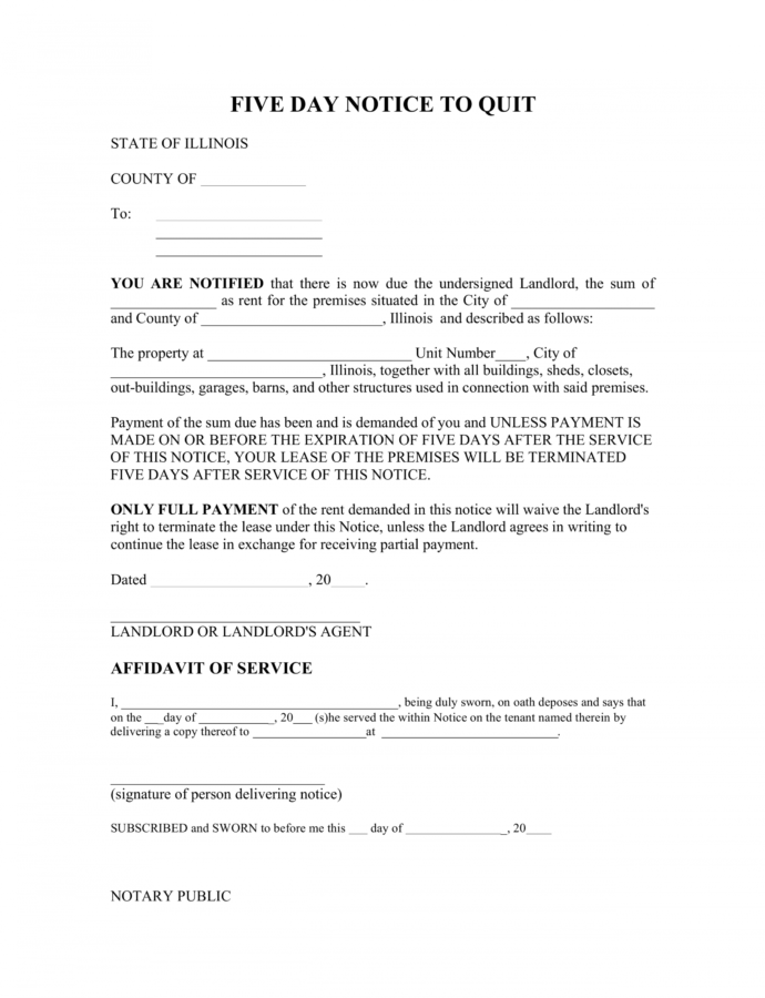 Illinois 5Day Notice To Quit Form  Nonpayment Of Rent Five Day Notice Template