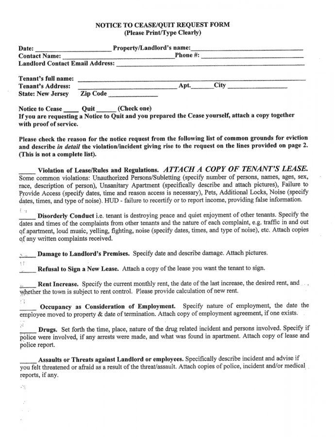 New Jersey Notice To Ceasequit Request Form Free Download Eviction Notice Template Nj Word
