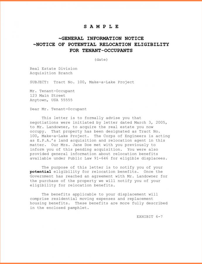 Notice To Vacate Letter To Tenant Template Collection Rental Notice To Vacate Template Sample