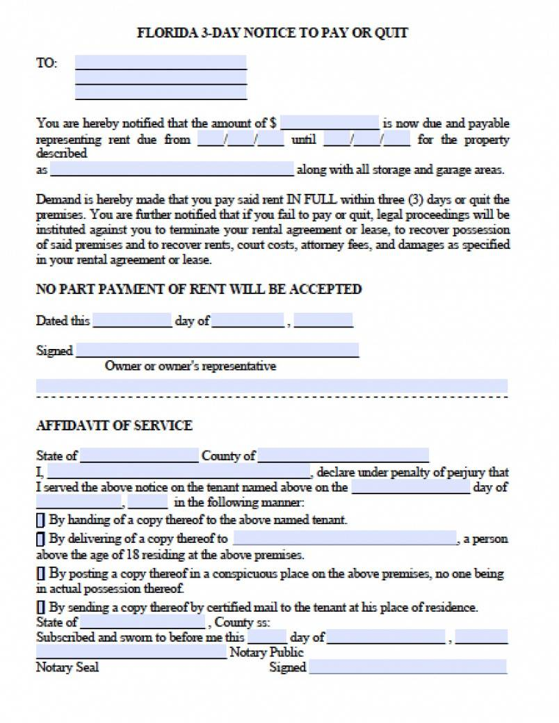 printable 003 florida day notice to quit late rent template ideas notice to pay or quit template doc