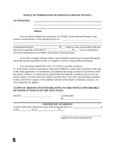 printable 005 template ideas arizona month to lease termination letter notice of eviction letter template sample