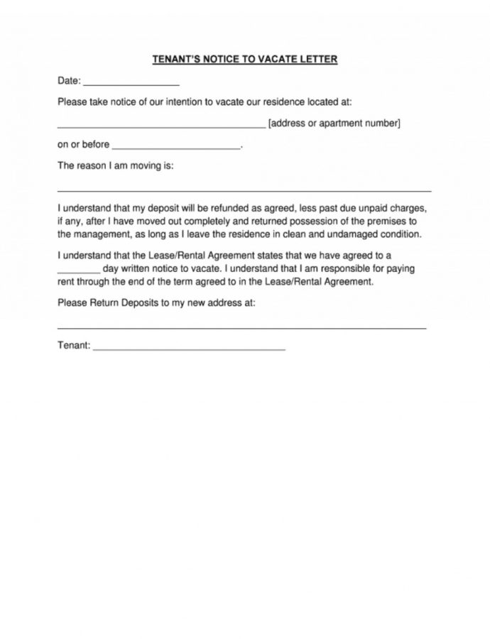 Printable 010 Day Notice Template Ideas 1024X1362 To Vacate Amazing 60 Day Notice To Landlord Template Sample