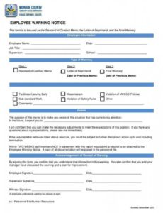 printable 10 employee warning letters  free word pdf excel format template for employee warning notice