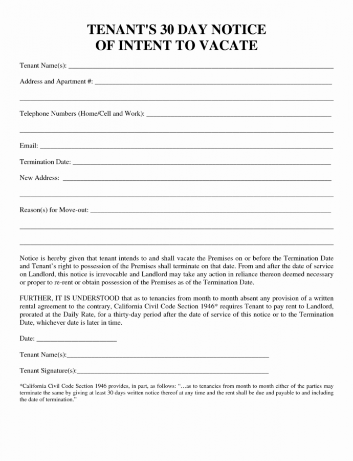 Printable 30 30 Day Notice Template  Tate Publishing News Template For 30 Days Notice To Landlord Sample